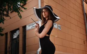 Wallpaper girl, street, hat, dress, yard, Daria, Alexander Drobkov-Light