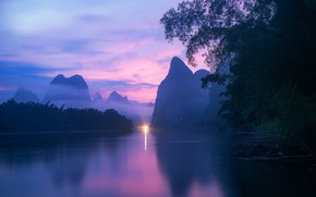 Picture China, river, sky, trees, landscape, nature, water, mountains, clouds, hills, sunrise, reflection, mist