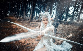 Picture forest, girl, style, bow, image, Asian, elf, cosplay