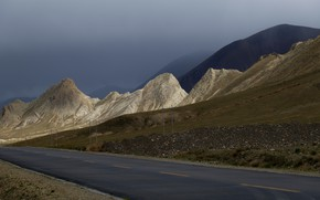 Picture road, mountains, Tibet