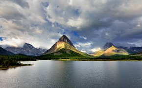Picture The sky, Nature, Clouds, Mountains, Rocks, Lake, Forest, Landscape