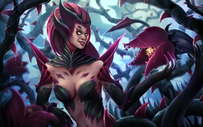 Picture Girl, The game, Forest, Plants, Art, League of Legends, LOL, Character, Zyra, Zyra, by Jan …