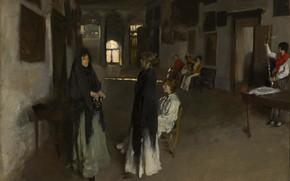 Picture Girl, Room, Picture, Interior, John Singer Sargent, John Singer Sargent, Американский художник, Венецианский интерьер