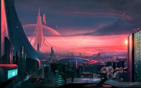 Picture Sunset, The city, Future, Building, City, Fantasy, Landscape, Architecture, Art, Fiction, Antares, Science Fiction, Josef …