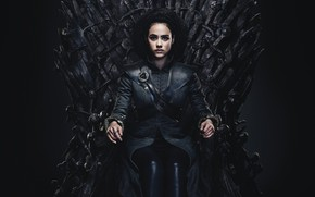 Picture Game of Thrones, iron, sitting, throne, Nathalie Emmanuel, Missandei
