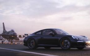 Picture rendering, 911, Porsche, side view, F-16, 2018, CGI, Carrera T, Gustavo Coutinho Alves