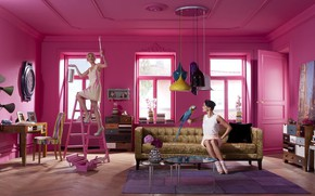 Picture style, girls, room, the situation, model, painting, photoshoot, art, fashion-съемка, style pop art, творческий процесс