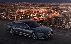 Picture the city, lights, Audi, Audi A7, 2019, S7 Sportback