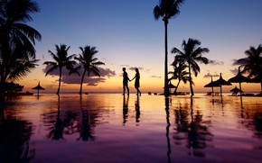 Picture palm trees, the ocean, the evening, pool, two, resort, silhouettes, silence, Bahamas, Cat Island, красота …