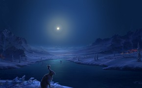 Picture winter, snow, mountains, river, people, hare, home, The moon, village, art, moonlight, Fel-X