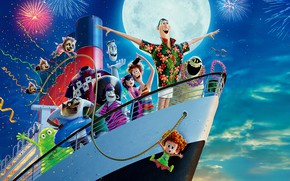 Wallpaper the sky, the moon, ship, cartoon, salute, fireworks, fun, characters, Hotel Transylvania 3, Monsters on ...