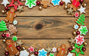 Picture decoration, New Year, Christmas, christmas, wood, merry, cookies, decoration, gingerbread, gingerbread