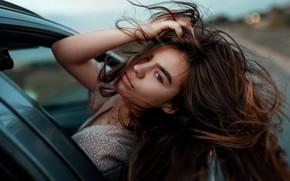 Picture auto, girl, the wind, hair, Juliana Naidenova