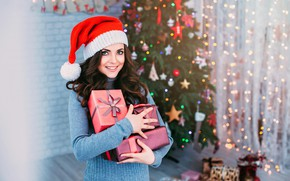 Picture girl, decoration, lights, pose, smile, mood, holiday, hat, toys, makeup, dress, Christmas, hairstyle, gifts, New …