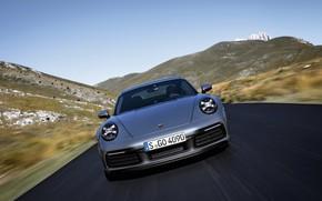 Picture road, movement, coupe, 911, Porsche, front view, Carrera 4S, 992, 2019