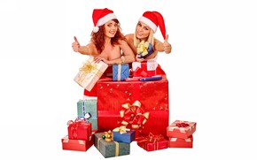 Picture gifts, white background, New year, box, girls