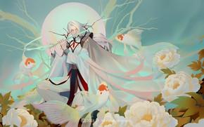 Picture fantasy, fish, art, goldfish, flute, LY 炼 妖, Peony flower