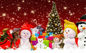 Picture holiday, new year, Christmas, snowman, Christmas tree