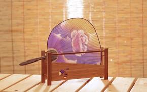 Picture Japan, Japan, декоративно-прикладное искусство, paper fan, ручная роспись, бумажный веер, веер утива, круглый веер
