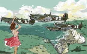 Picture Girl, aircraft, Supermarine Spitfire, WW2, Albion