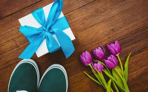 Picture flowers, gift, sneakers, bouquet, tape, tulips, wood, flowers, tulips, purple, sneakers, gift box