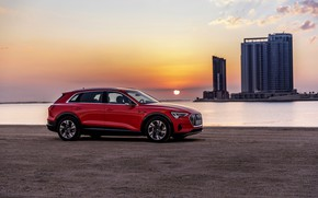 Picture sunset, Audi, E-Tron, 2019, dark orange