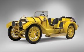 "Picture retro, retro, 1911, Oldsmobile, Race Car, Autocrat ""Yellow Peril"", 500см3, brass era, (Series 28), rumble …"