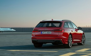 Picture red, Audi, airport, universal, 2019, A6 Avant, S6 Before