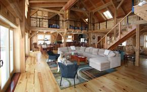 Picture interior, kitchen, living room, dining room, bedrooms, barn home, деревянный каркасный дом, Cool Timber Frame …