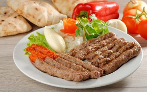 Picture plate, meat, pepper, vegetables, tomatoes