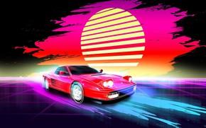 Picture Music, Style, Background, Ferrari, 80s, Sun, Style, Neon, Illustration, 512, Testarossa, 80's, Synth, Retrowave, Synthwave, …