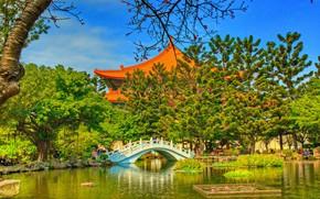 Picture photo, HDR, Nature, Bridge, Trees, Garden, Pond, Taiwan, Temple, Taipei, Memorial, Chiang Kai-shek