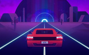 Picture Auto, Road, Music, Retro, Machine, Style, Ferrari, Music, Style, Supercar, Illustration, Testarossa, 80's, Synth, Retrowave, …