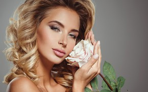 Picture flower, look, background, rose, portrait, makeup, hairstyle, blonde, white, beauty