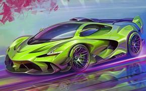 Picture Car, Art, Race car, Sketch, Alexander Sidelnikov, Transport & Vehicles