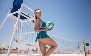 Picture girl, mesh, the ball, beach volleyball, Sergey Nibic