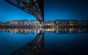 Picture bridge, lights, river, France, the evening, Lyon