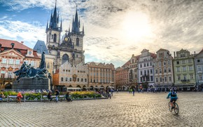 Picture the sky, the sun, people, the building, HDR, Prague, Czech Republic, area, monument, town square