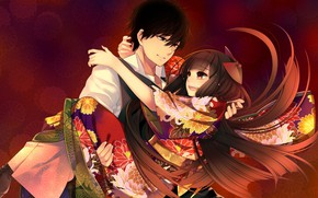 Picture girl, romance, anime, art, guy, two