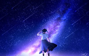 Picture the sky, girl, night, the milky way