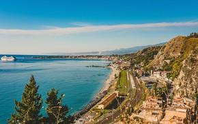 Picture photo, Home, Pier, The city, Italy, Coast, Sicily, Taormina