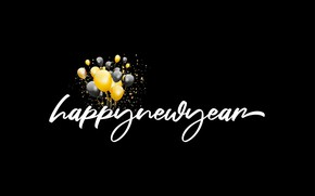 Picture balls, letters, balloons, background, the inscription, balls, texture, yellow, Christmas, New year, air, black background, …