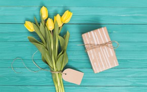 Picture green, table, background, bouquet, tulips, wood