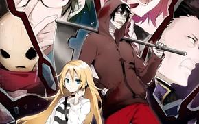 Picture girl, mask, guy, two, characters, Angel bloodshed, Satsuriku no Tenshi