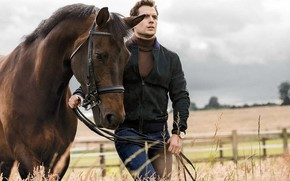 Picture look, horse, jacket, male, Henry Cavill