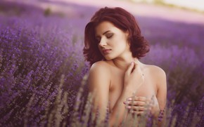 Picture field, girl, flowers, face, pose, mood, hands, shoulders, lavender, manicure, closed eyes, Iso Iv