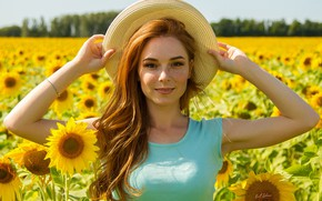 Wallpaper field, summer, look, girl, sunflowers, face, mood, hair, hat, hands, freckles, red, redhead, freckled, Cyril ...