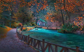 Wallpaper autumn, forest, trees, landscape, mountains, nature, house, Park, river, the fence, lights, the bridge, Bosnia, ...