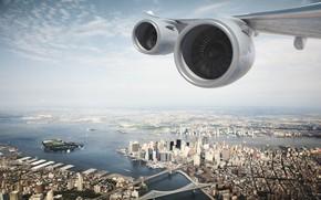 Wallpaper The city, Flight, Top, Engine, USA, Engines, New York, New York, New York City, The ...