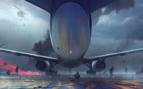 Picture The plane, Rain, Clouds, Battle, Wings, Soldiers, Soldiers, Zombie, Fantasy, Art, Fiction, Rain, Concept Art, …